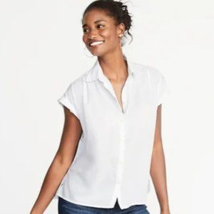 NWT Old Navy Relaxed Cap Sleeve White Top Medium